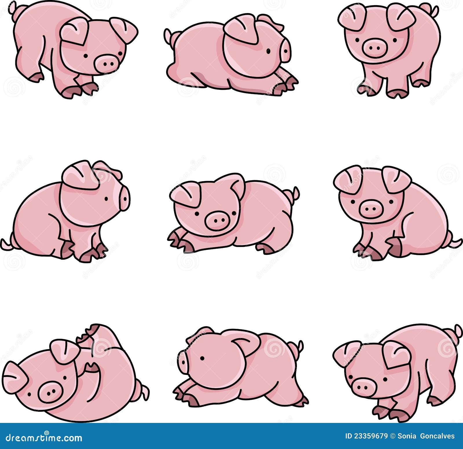 Cerdos Del Bebé Ilustración Del Vector Ilustración De Perfil 23359679
