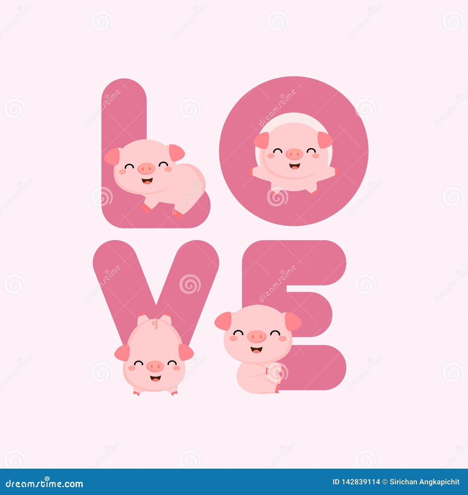 Cerdos lindos con las letras de AMOR Tarjeta de Valentine Greeting