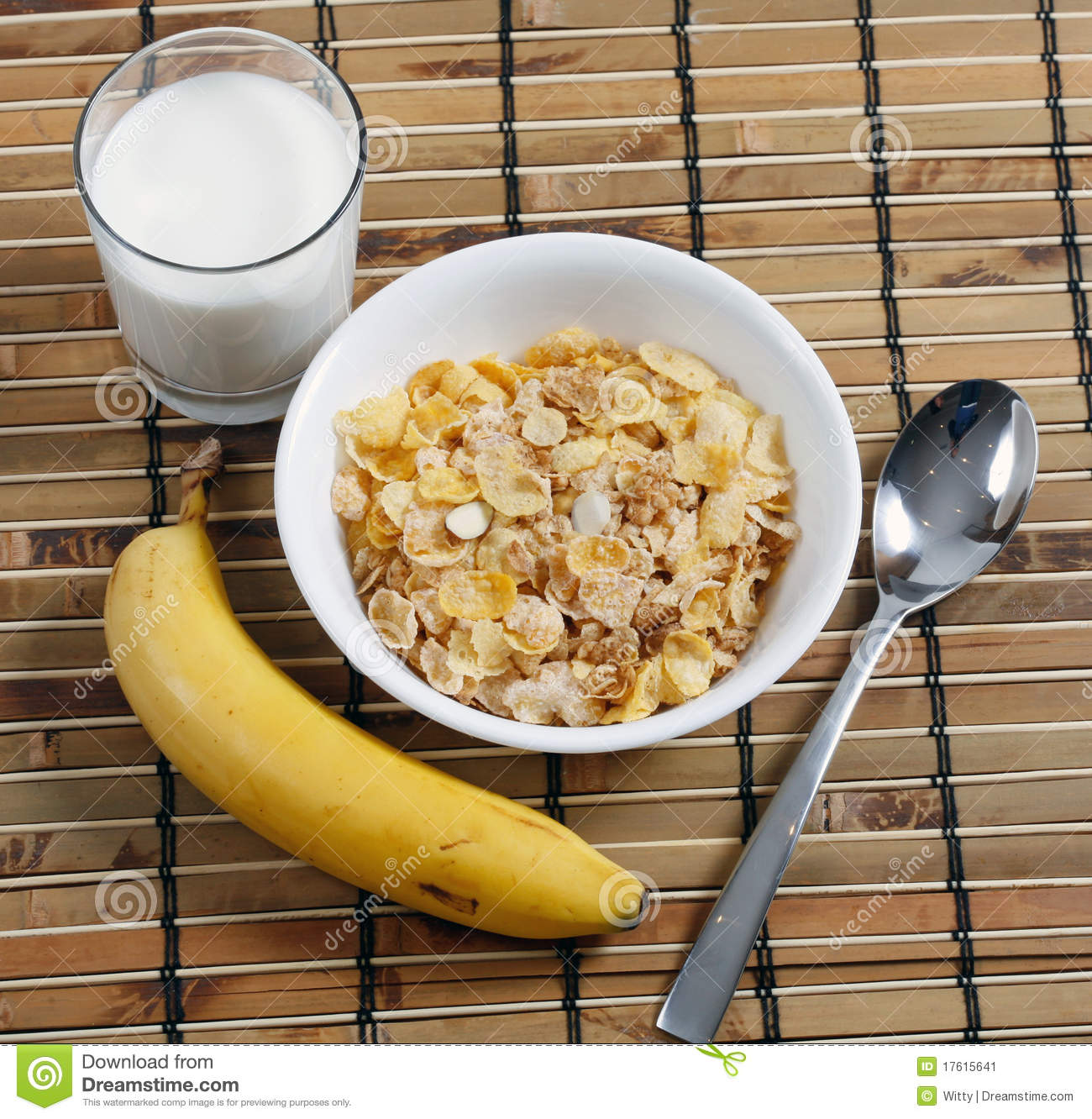 Cereal In Bowl With Milk And Banana Stock Image