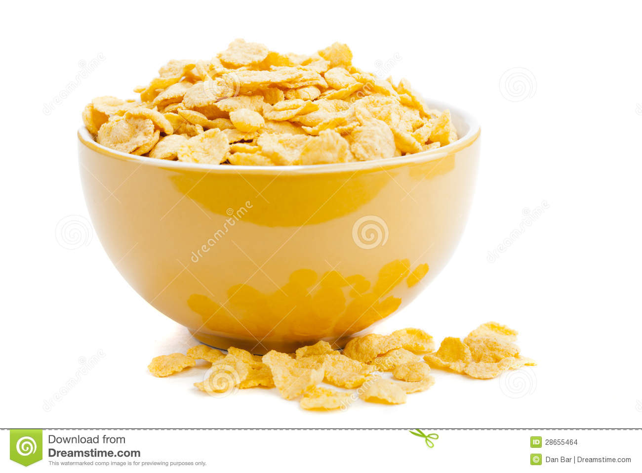 Cereal cornflakes in a bowl