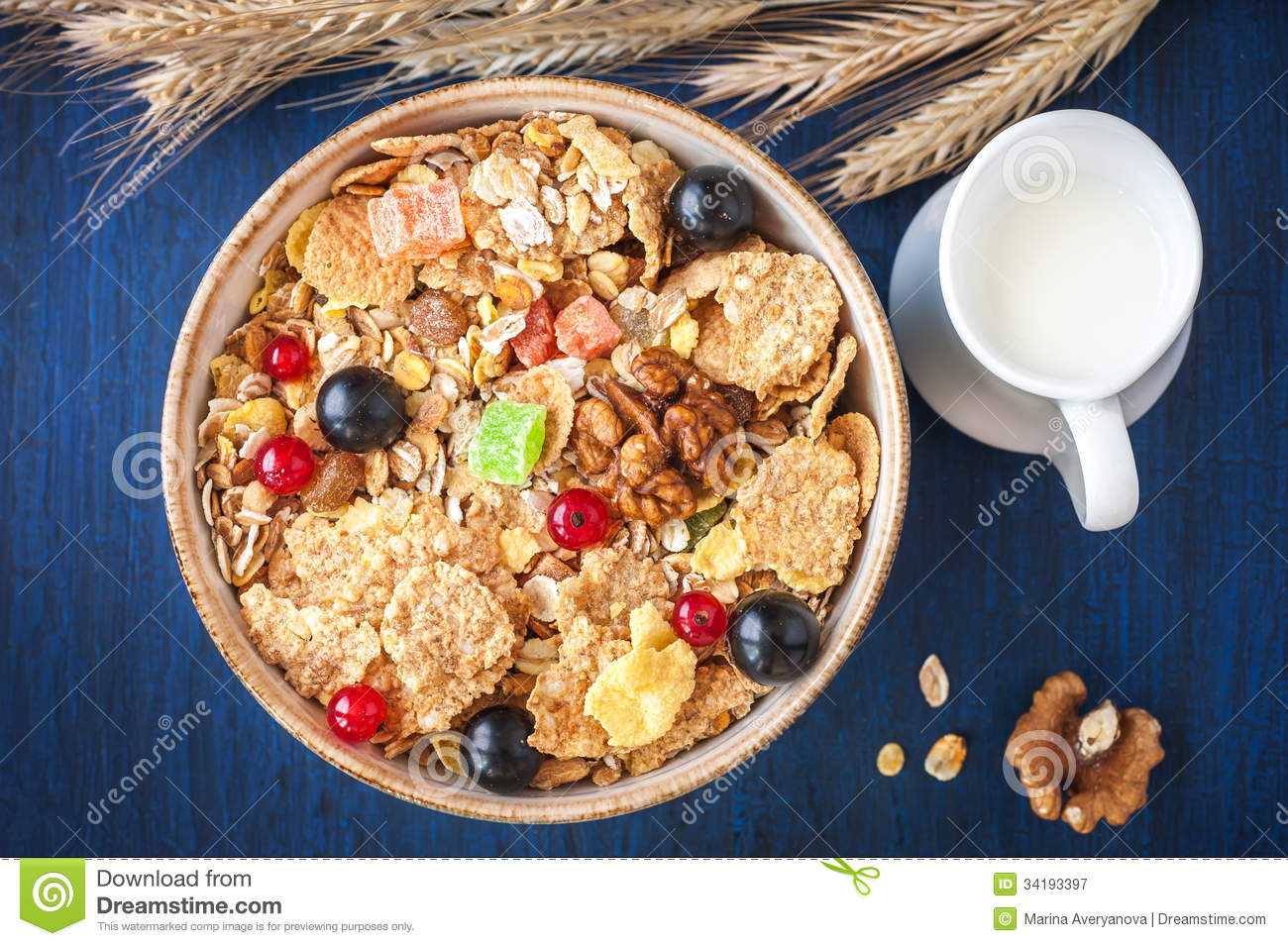 Cereal Muesli Granola In A Bowl With Berries And Dried