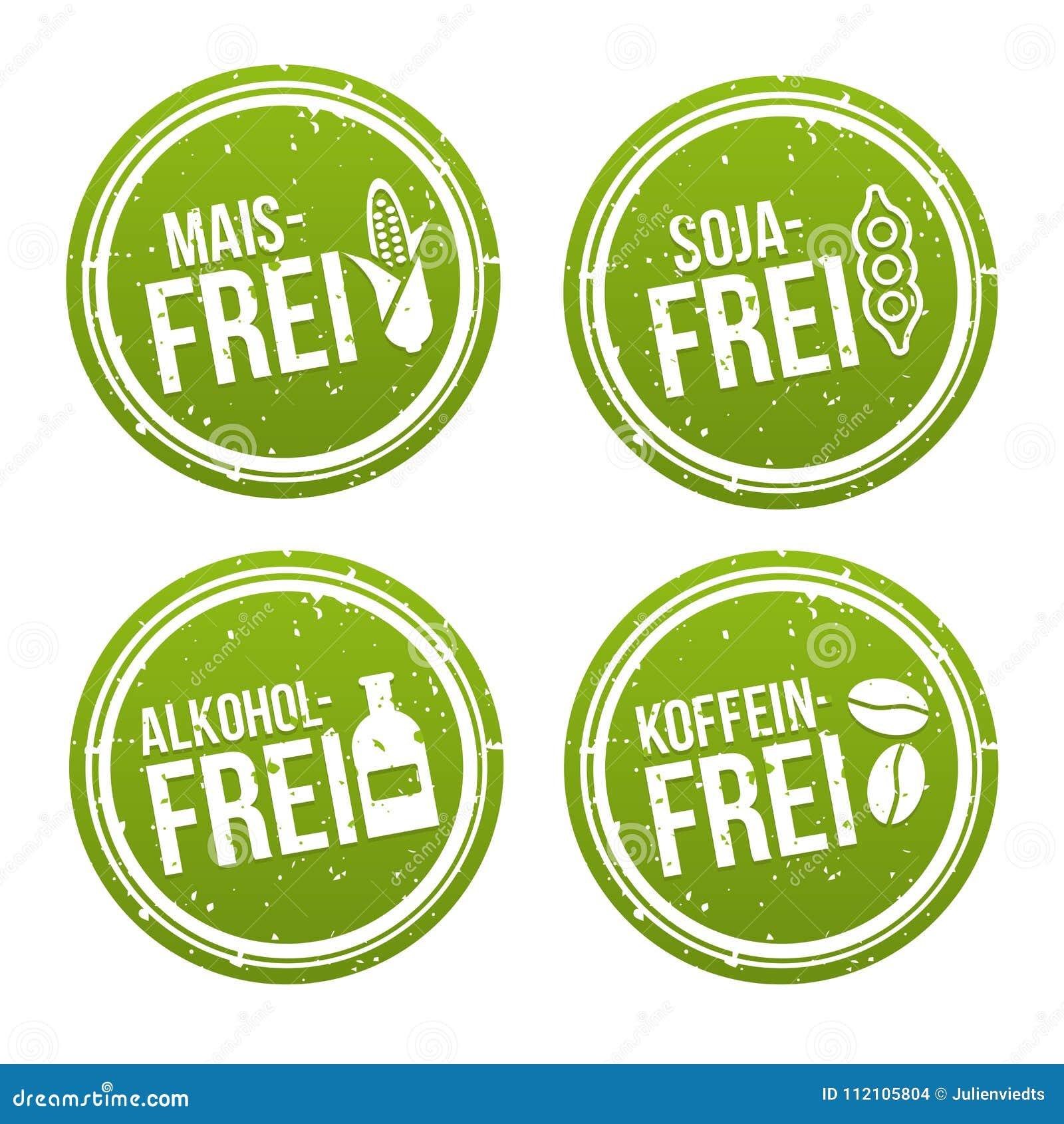 Cereale bollo libero senza alcool e di coffeine liberano, della soia libera, - Maisfrei, Sojafrei, und Koffeinfrei Stempel di Alk