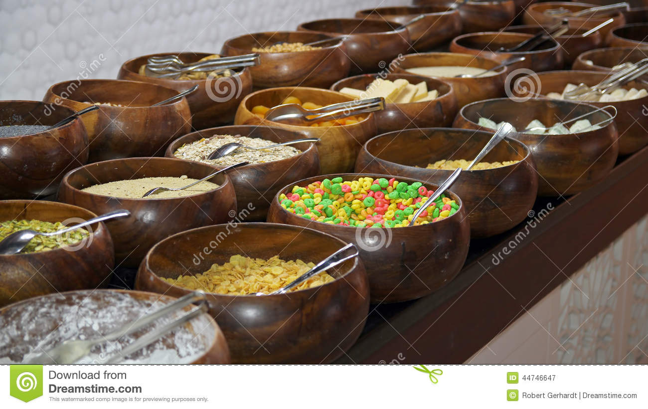 cereals and corn flakes on a breakfast buffet stock image image 44746647. Black Bedroom Furniture Sets. Home Design Ideas