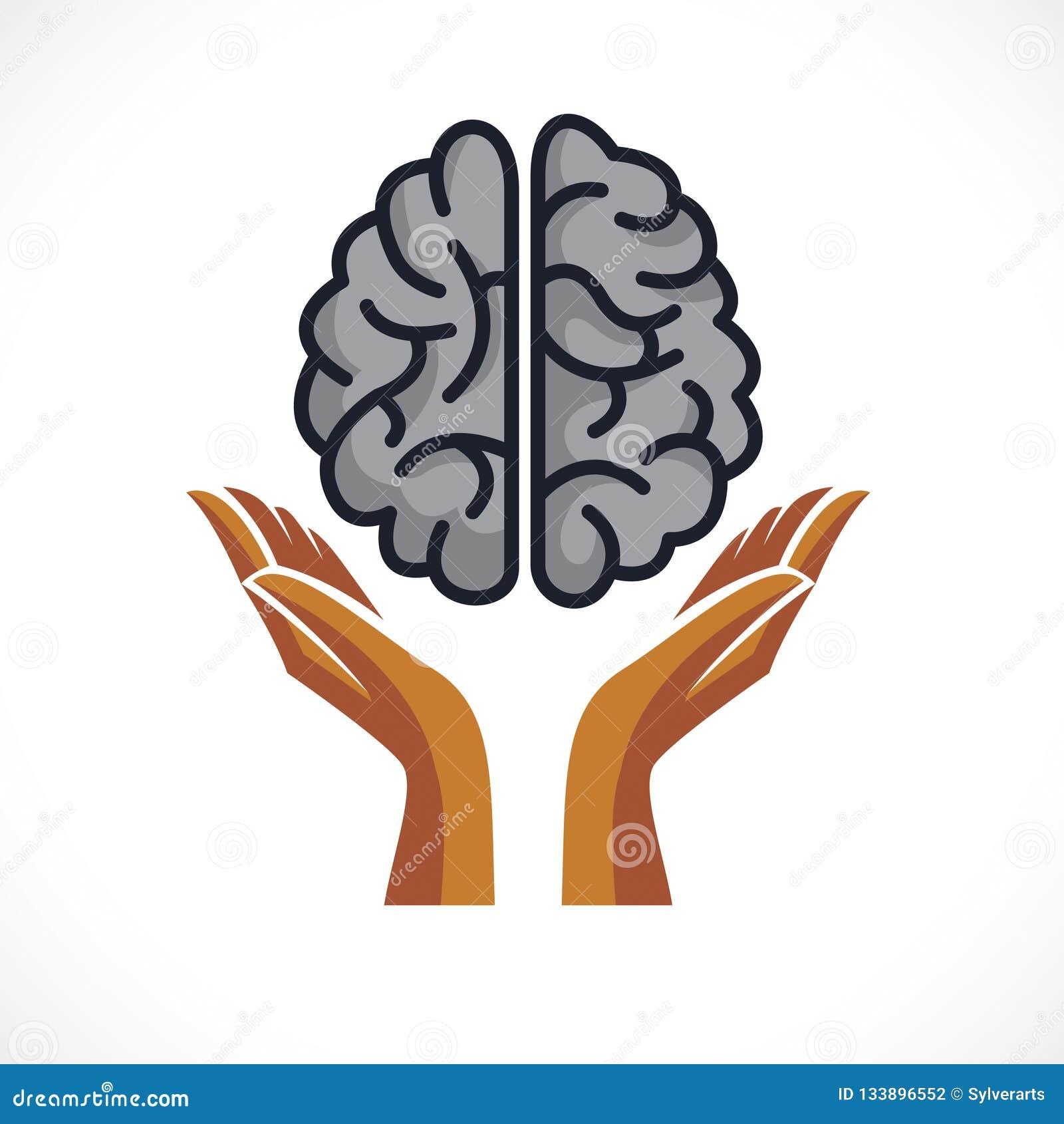 Cerebro anatómico humano con la oferta que guarda las manos, salud mental
