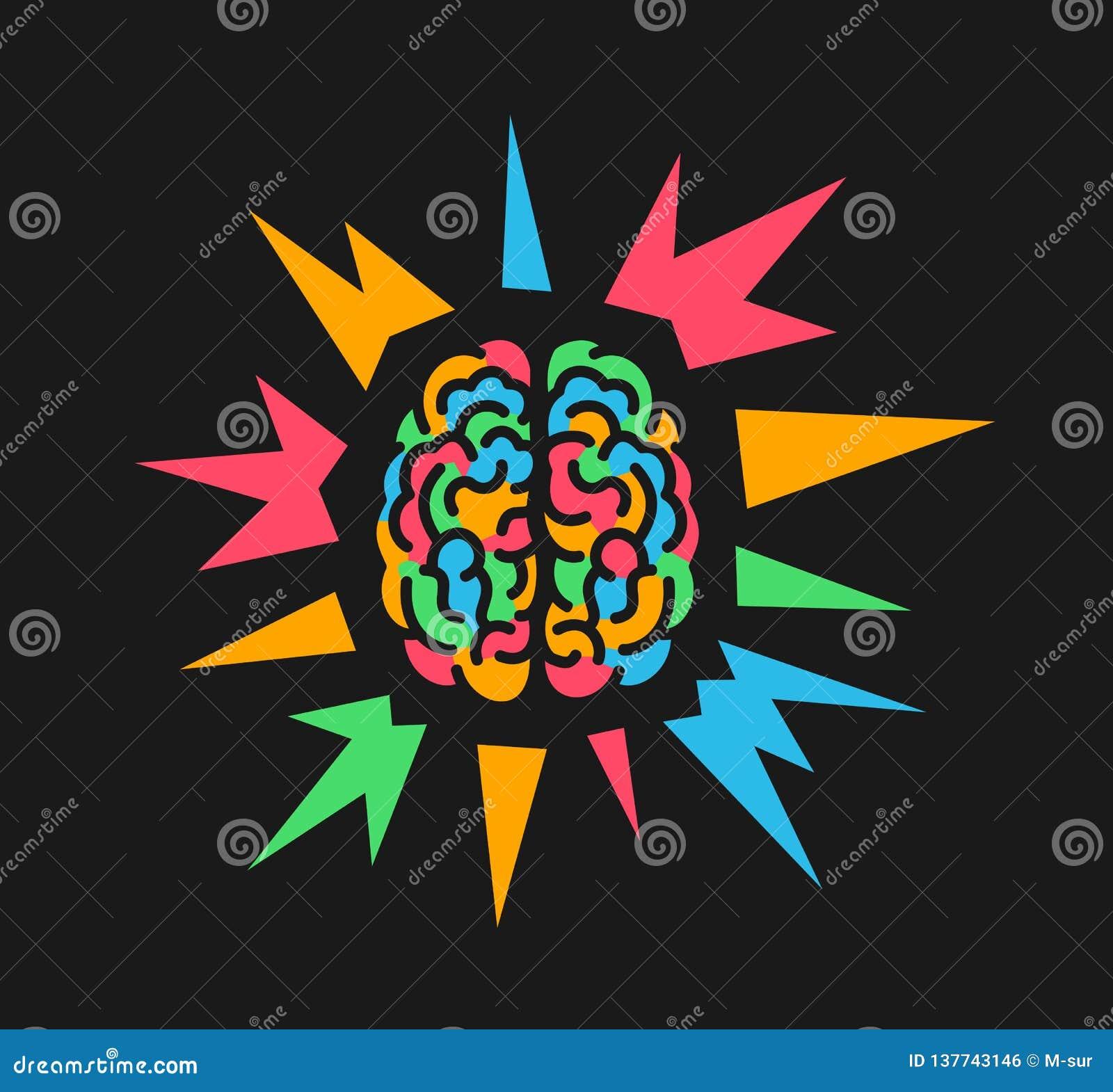 Cerebro colorido debido a psychedelics y sustancia alucinógena, epilepsia y ataque epiléptico