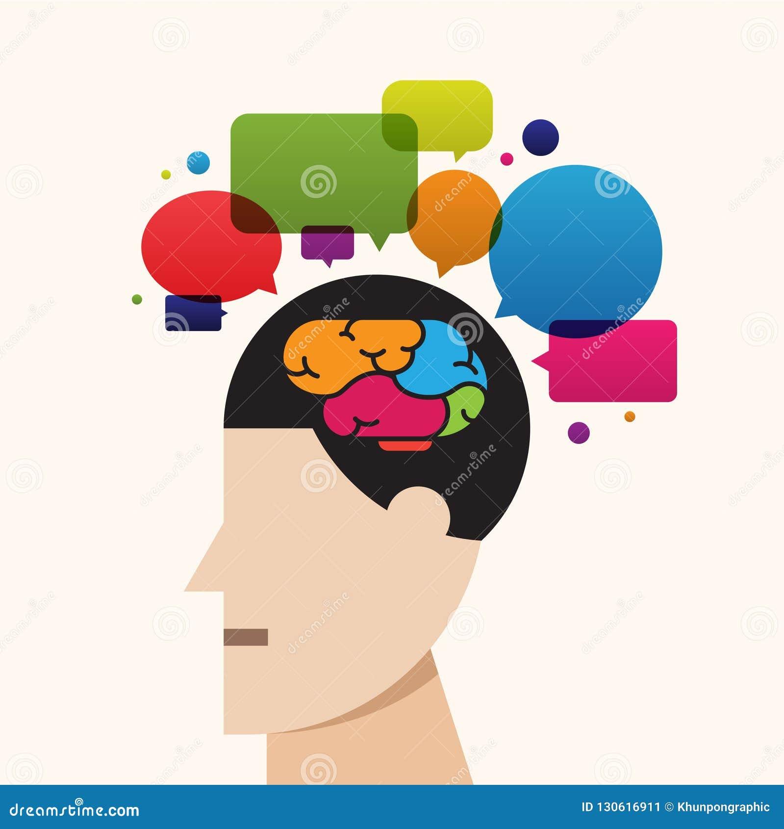 Cerebro creativo que piensa la idea de proceso, vector de la burbuja del discurso