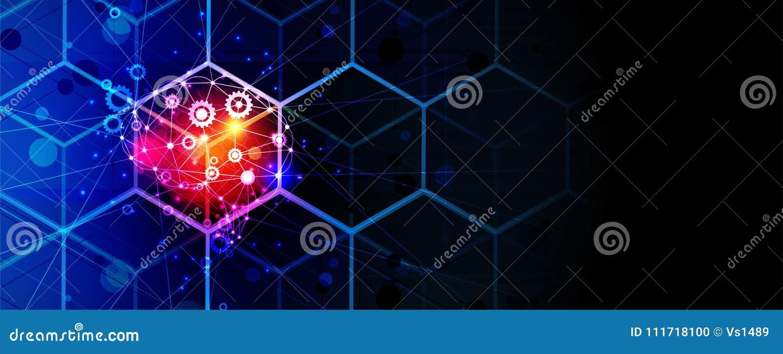 Cerebro de la inteligencia artificial en cubo Fondo del web de la tecnología Concentrado virtual