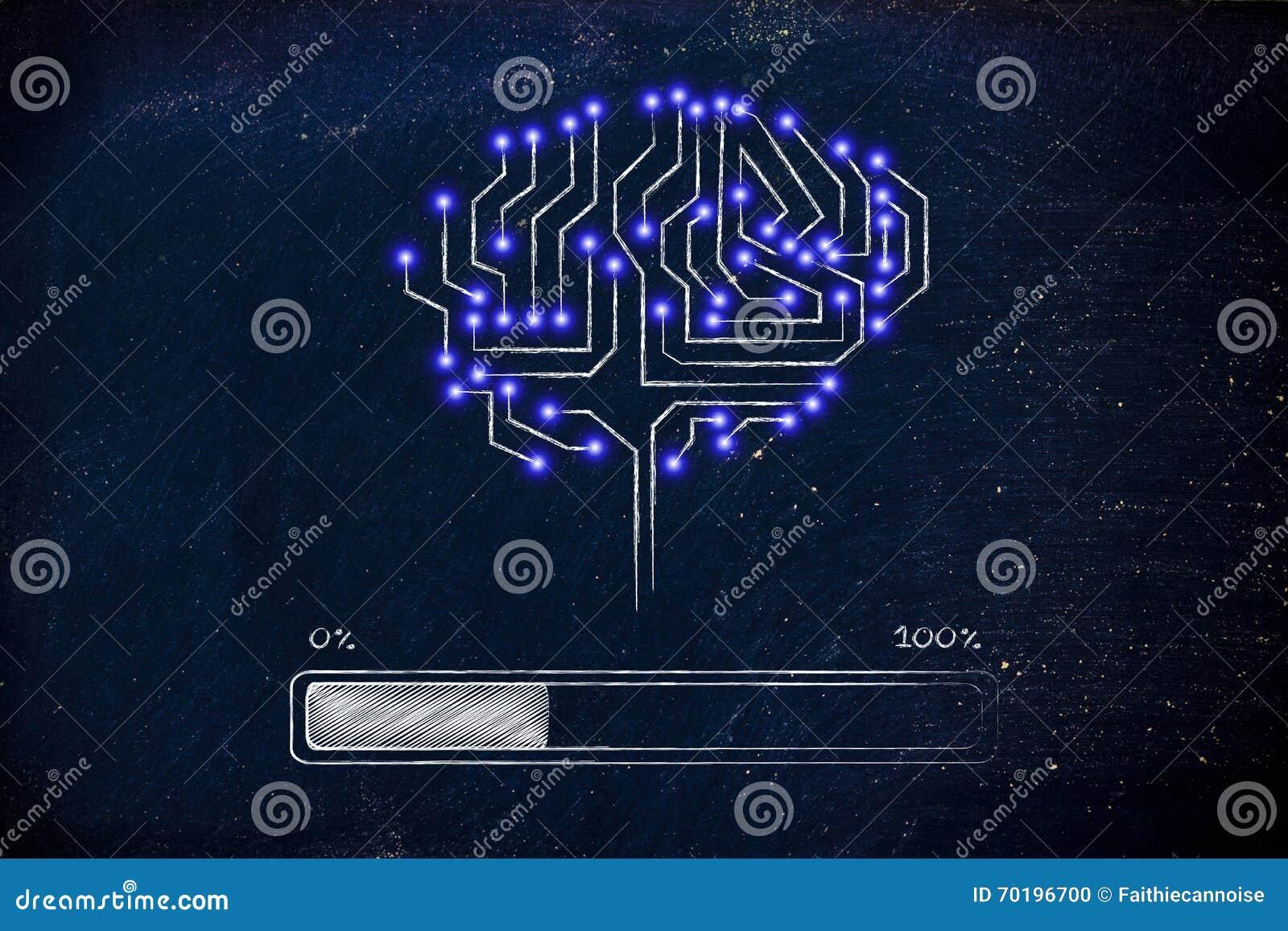 Circuito Electronico : Cerebro del circuito electrónico con el cargamento de la barra de