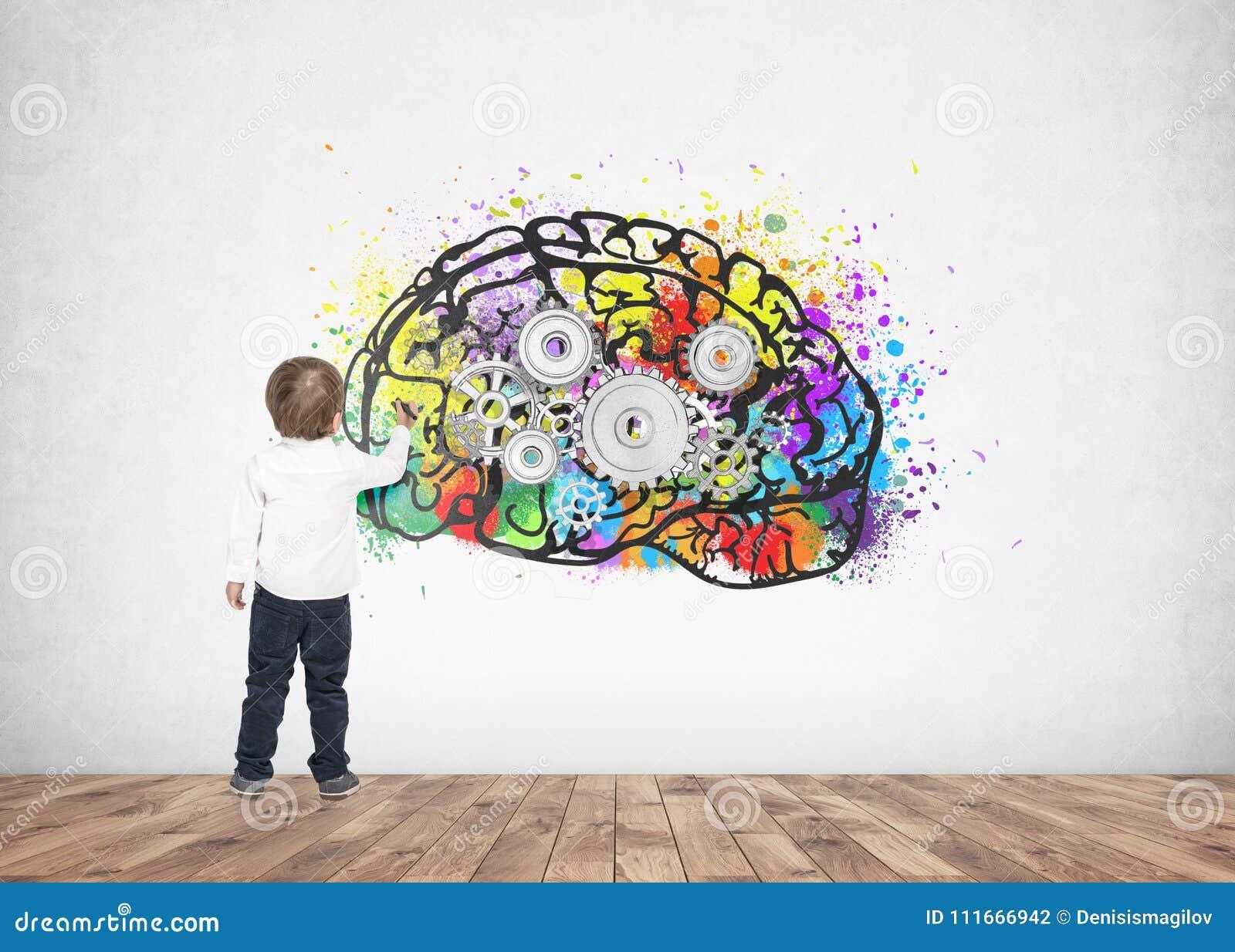 Cerebro lindo del diente del marcador del dibujo de la escritura del niño pequeño