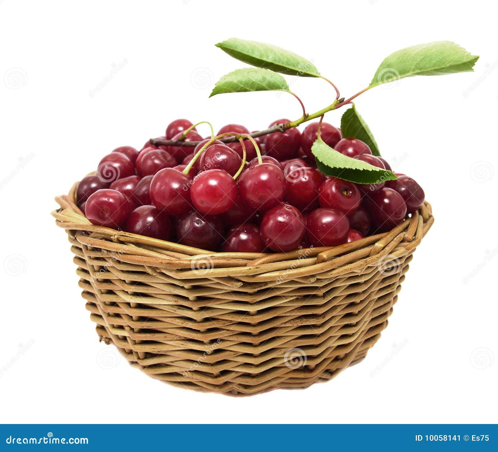 Cerejas em uma cesta