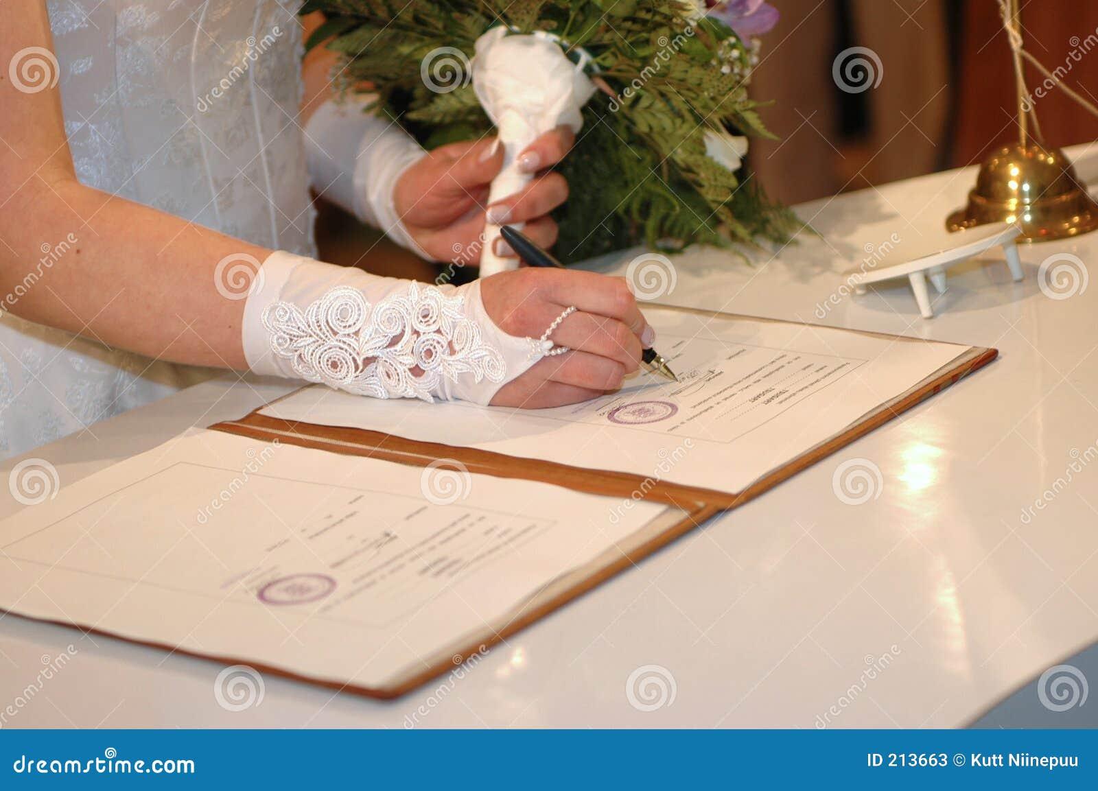 Ceremonia ślubu jej podpisanie