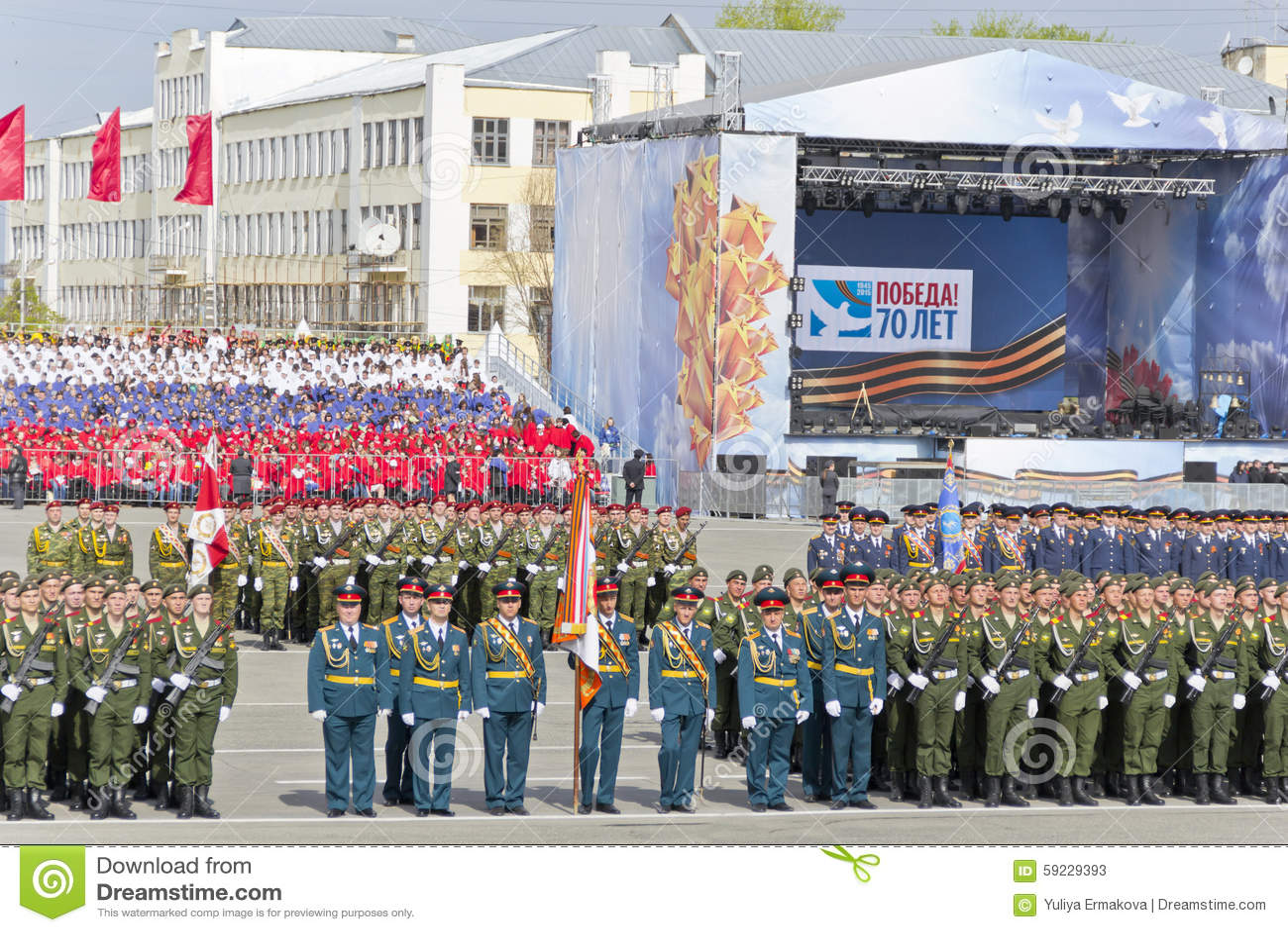 Ceremonia rusa del desfile militar de la abertura en vencedor anual