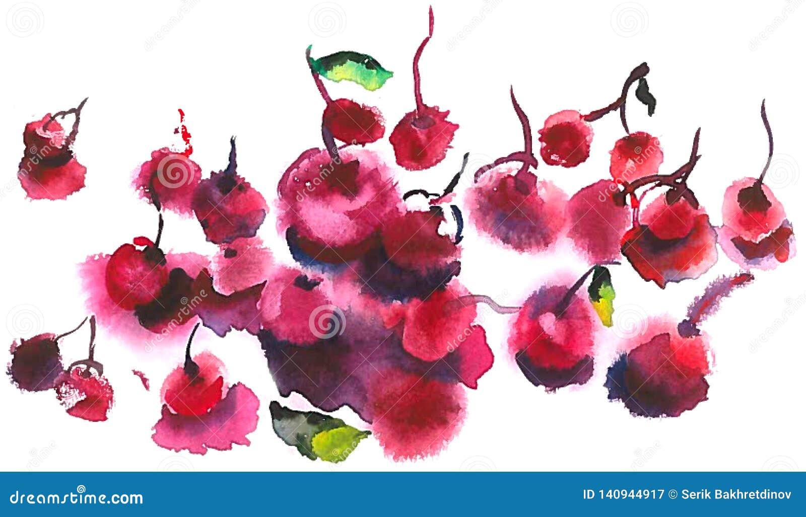 Cerezas rojas que mienten en la tabla