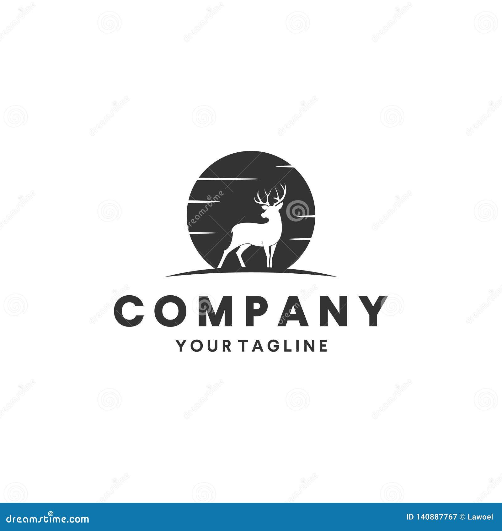 Cerfs communs chassant l inspiration de conception de logo