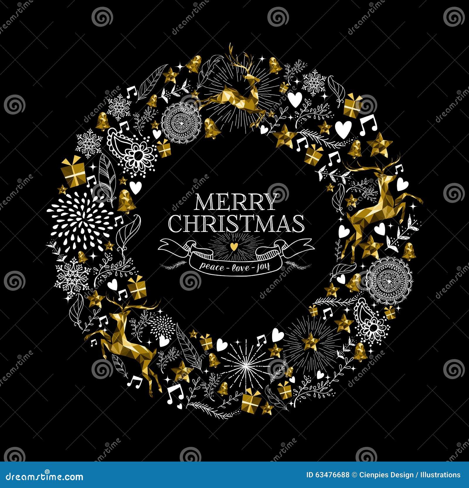 Cerfs communs d or de guirlande de label de Joyeux Noël bas poly