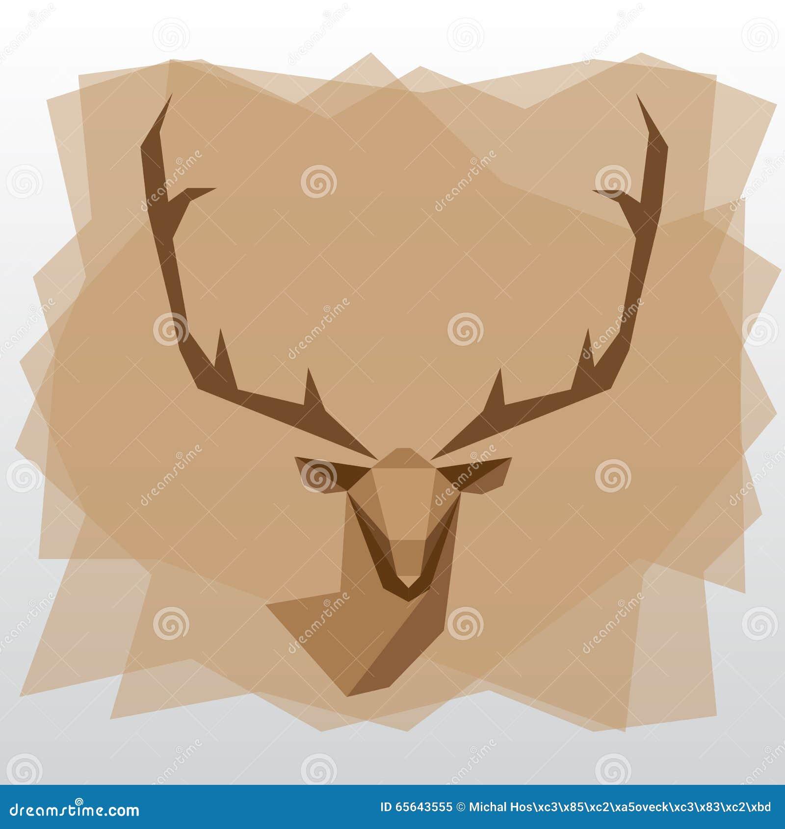 Cerfs communs géométriques de triangle sur le fond brun