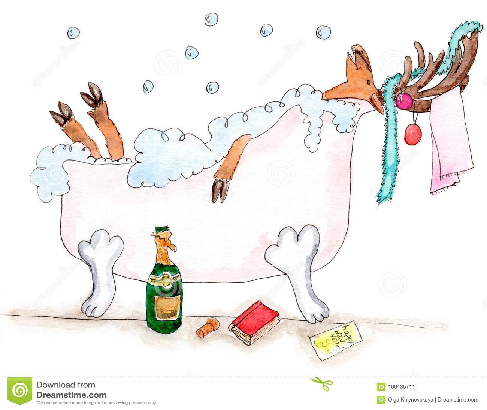 Cerfs communs joyeux de nouvelle année dans le bathtube