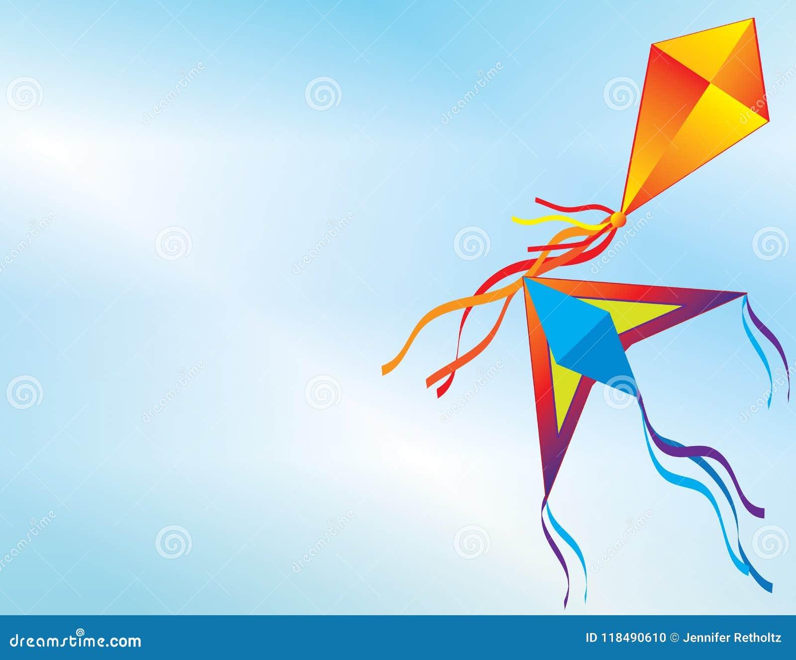Cerfs-volants colorés volant dans le ciel bleu