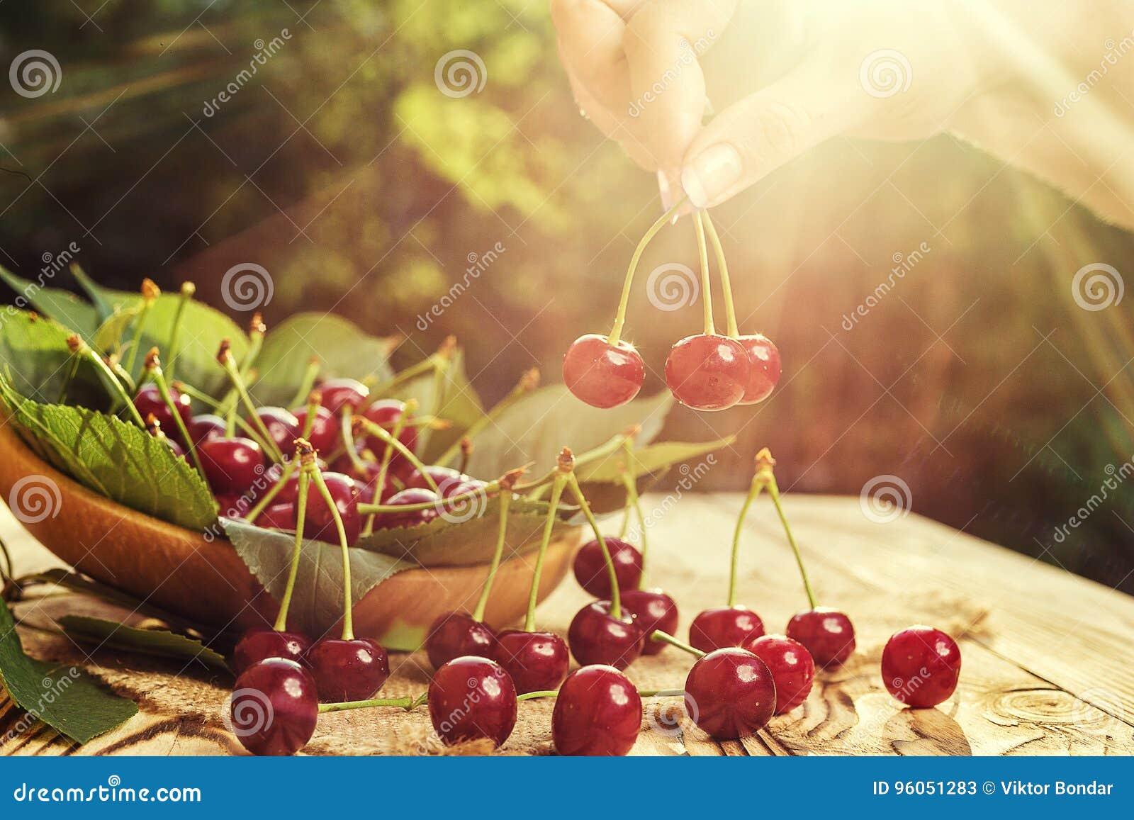 Cerise sur la main Table en bois de Cherrieson Cerise rouge Swe frais