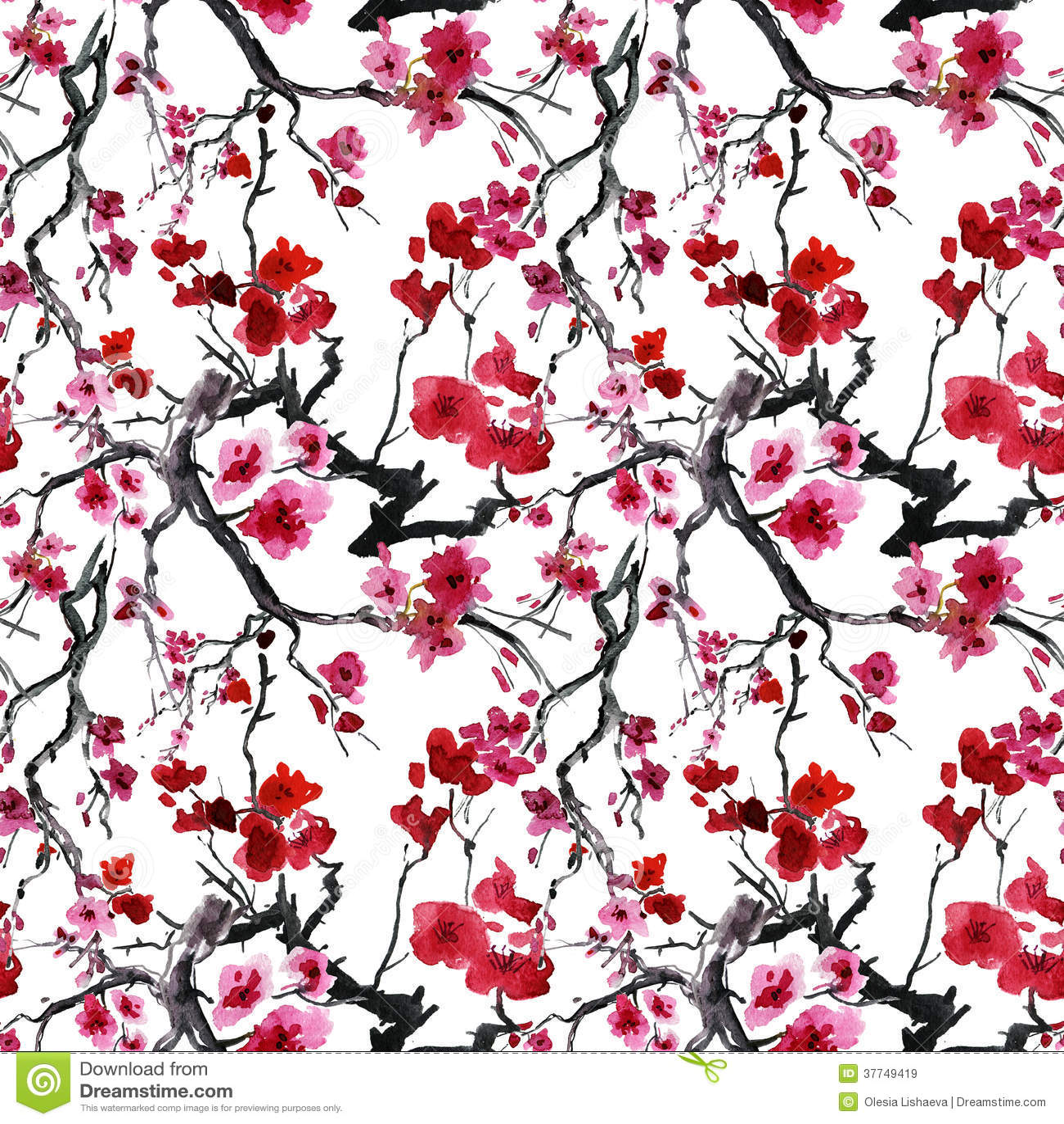 Cerisier Japonais Fond Sans Couture Illustration Stock