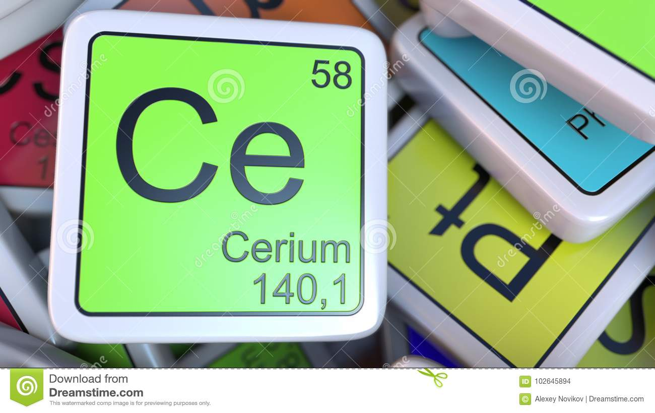 Cerium Ce Block On The Pile Of Periodic Table Of The Chemical