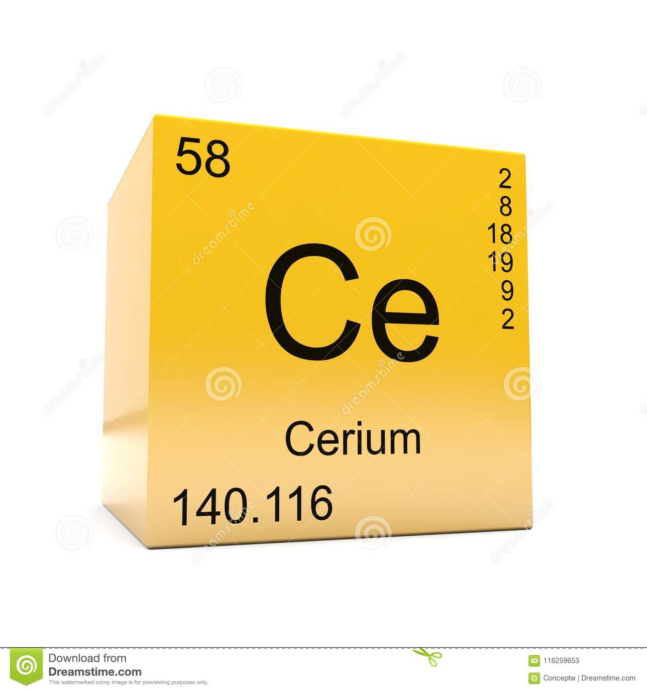 Cerium Chemical Element Symbol From Periodic Table Stock