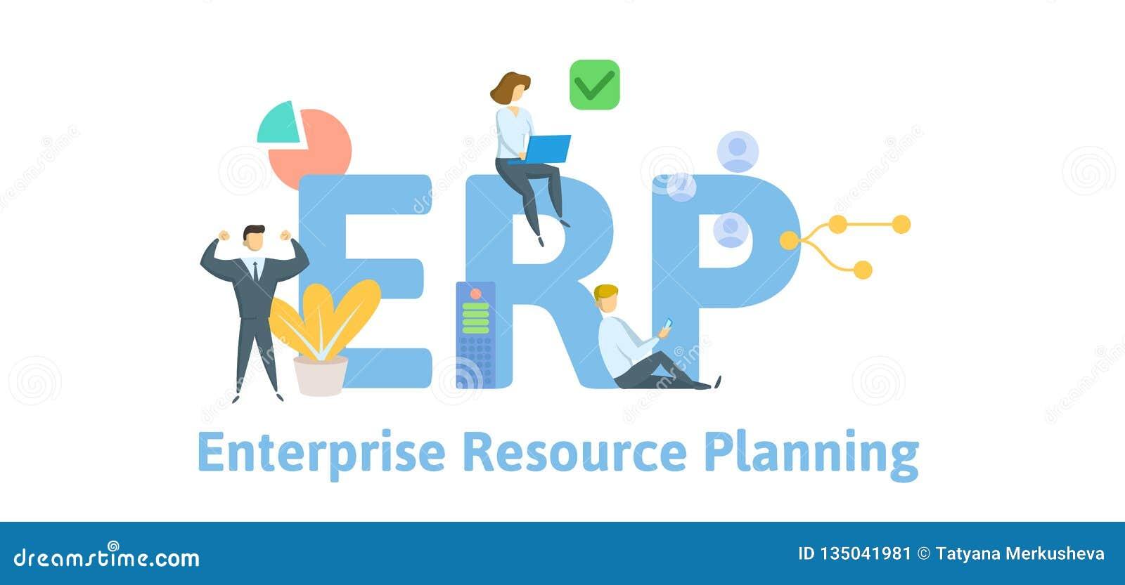 CErp, προγραμματισμός των επιχειρηματικών στοιχείων συμπεριφοράς Έννοια με τις λέξεις κλειδιά, τις επιστολές και τα εικονίδια Επί