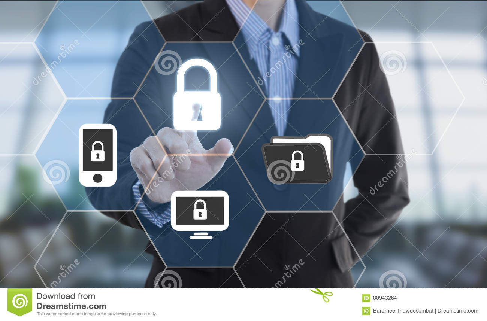 Cerradura de datos de la seguridad del botón del presionado a mano del hombre de negocios
