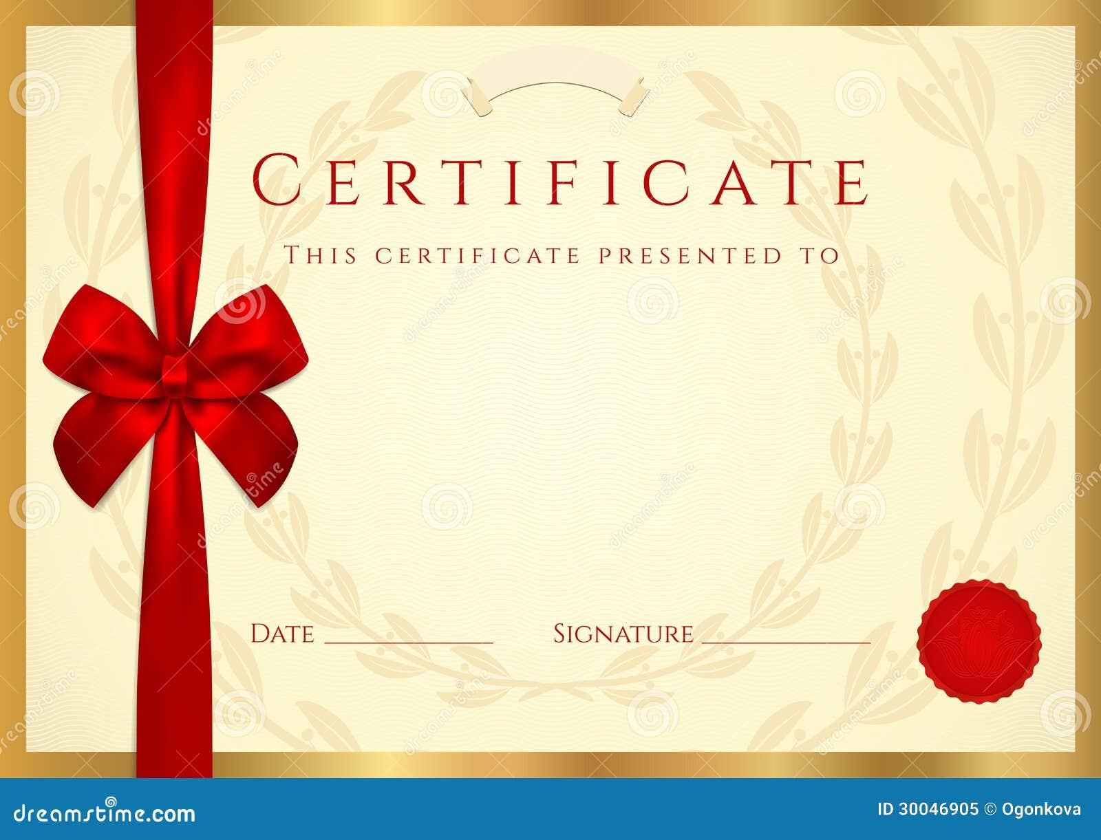 Diploma van het certificaat malplaatje met rode boog vector illustratie afbeelding 30046905 - Geloofsbrieven ontwerp ...