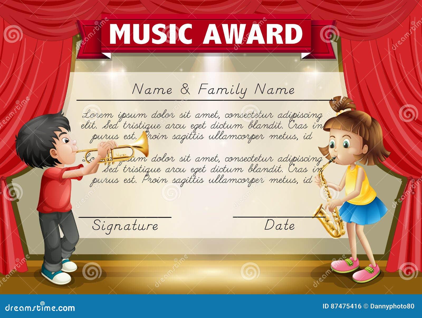 Certificaatmalplaatje met jonge geitjes die muziek op stadium spelen