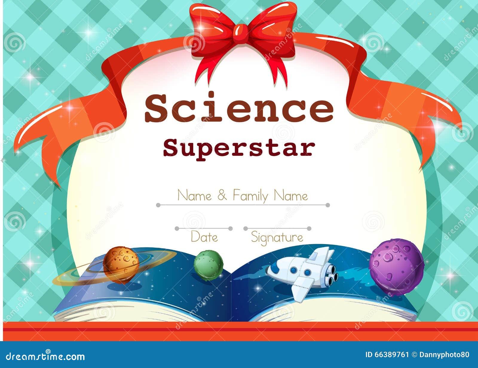 Certificaatmalplaatje met wetenschapsthema