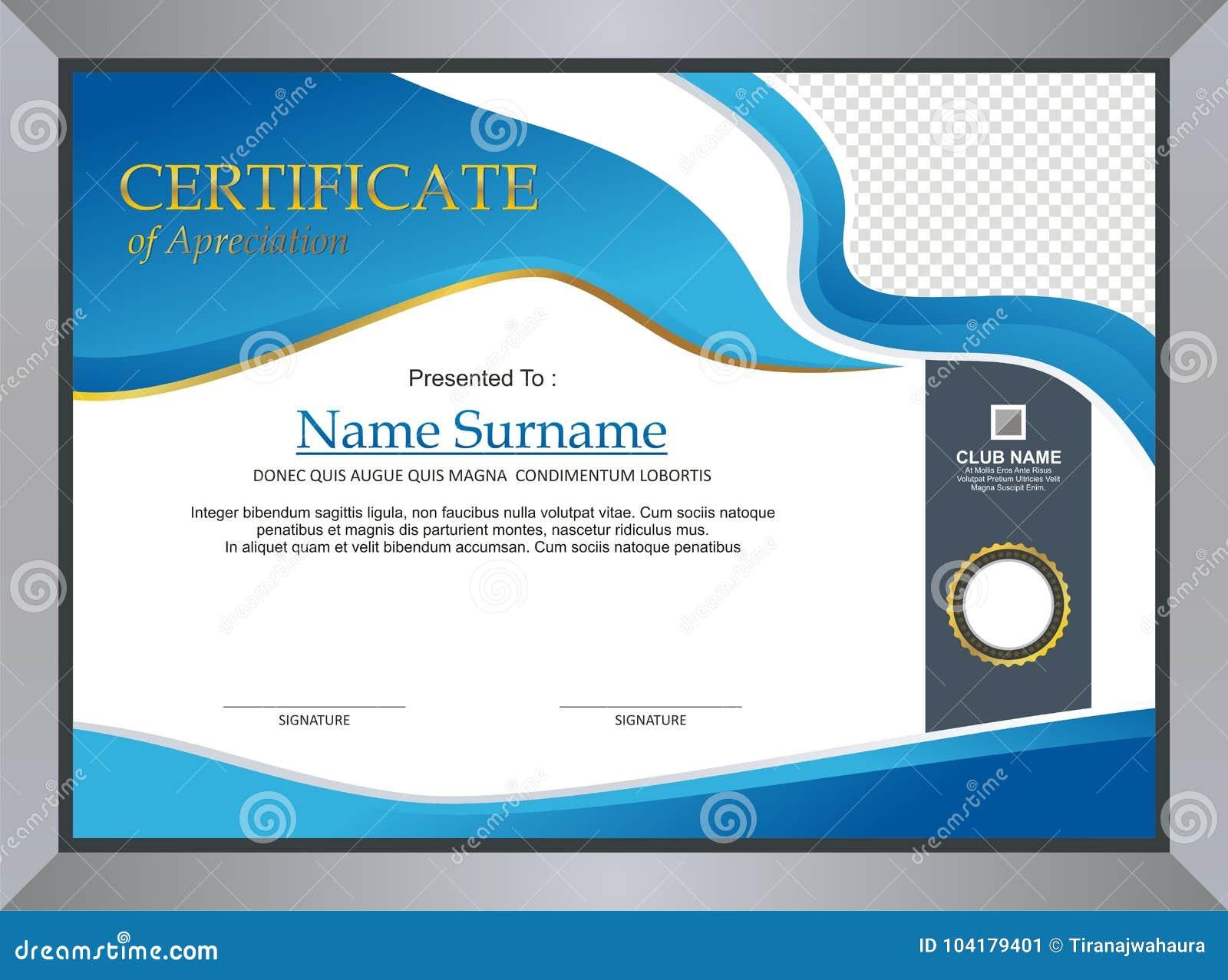 Certificado azul - projeto do molde do diploma
