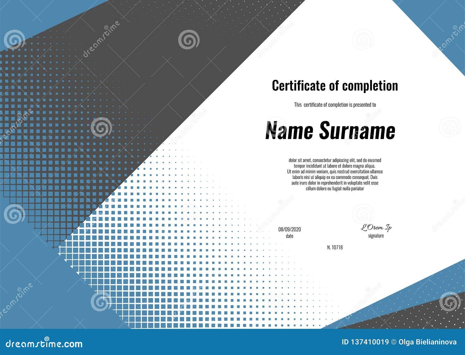 Certificado da conclusão Projeto do molde com fundo moderno das formas da geometria Certificado da apreciação, diploma