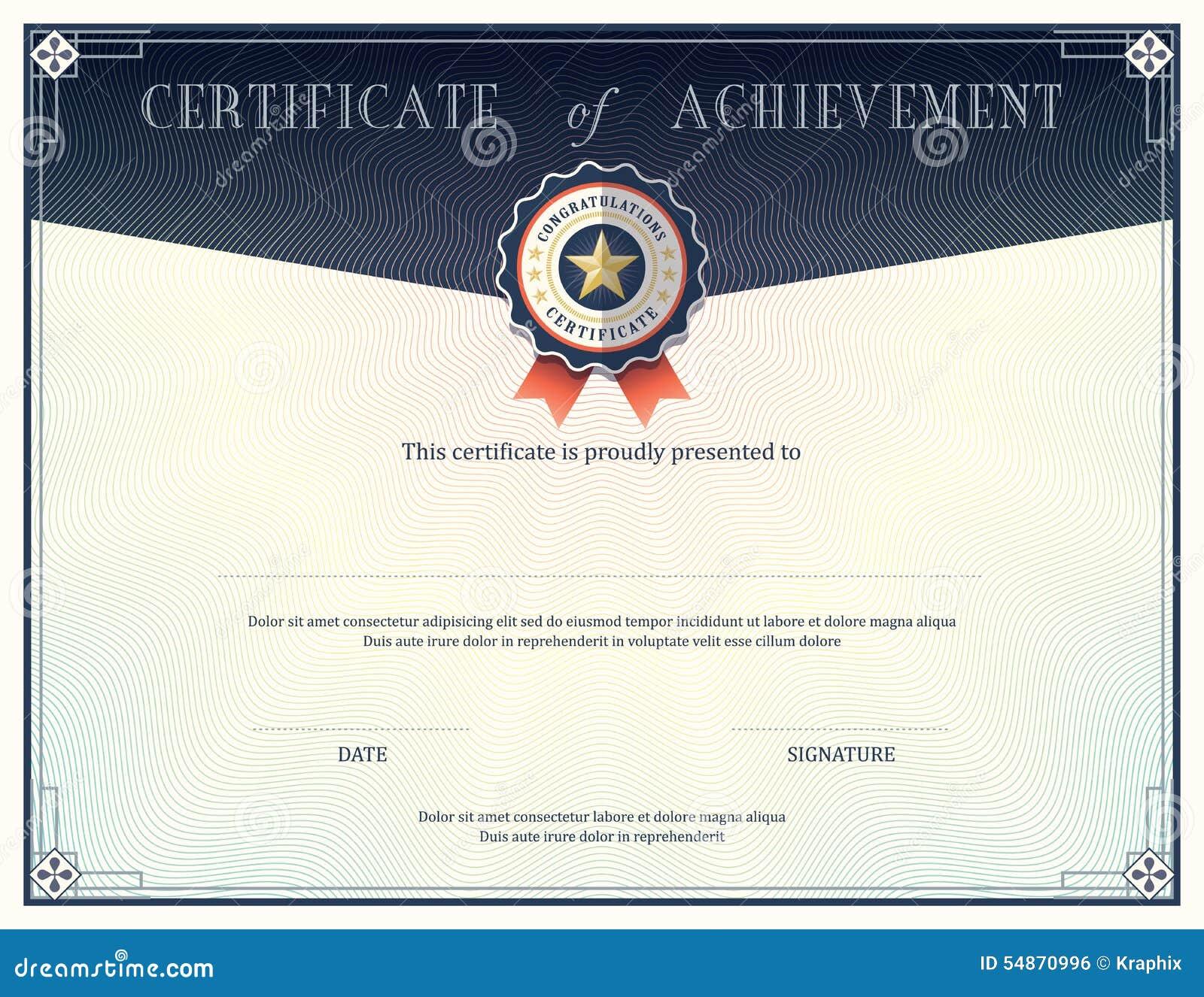 Certificado De Plantilla Del Diseño Del Logro Ilustración del Vector ...