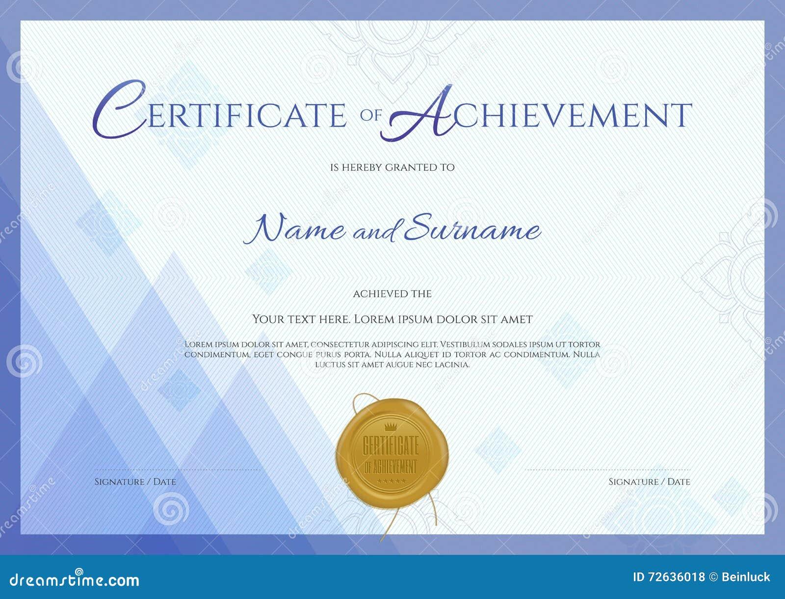 Certificado De Plantilla Del Logro Con El Fondo Azul Del Tema ...