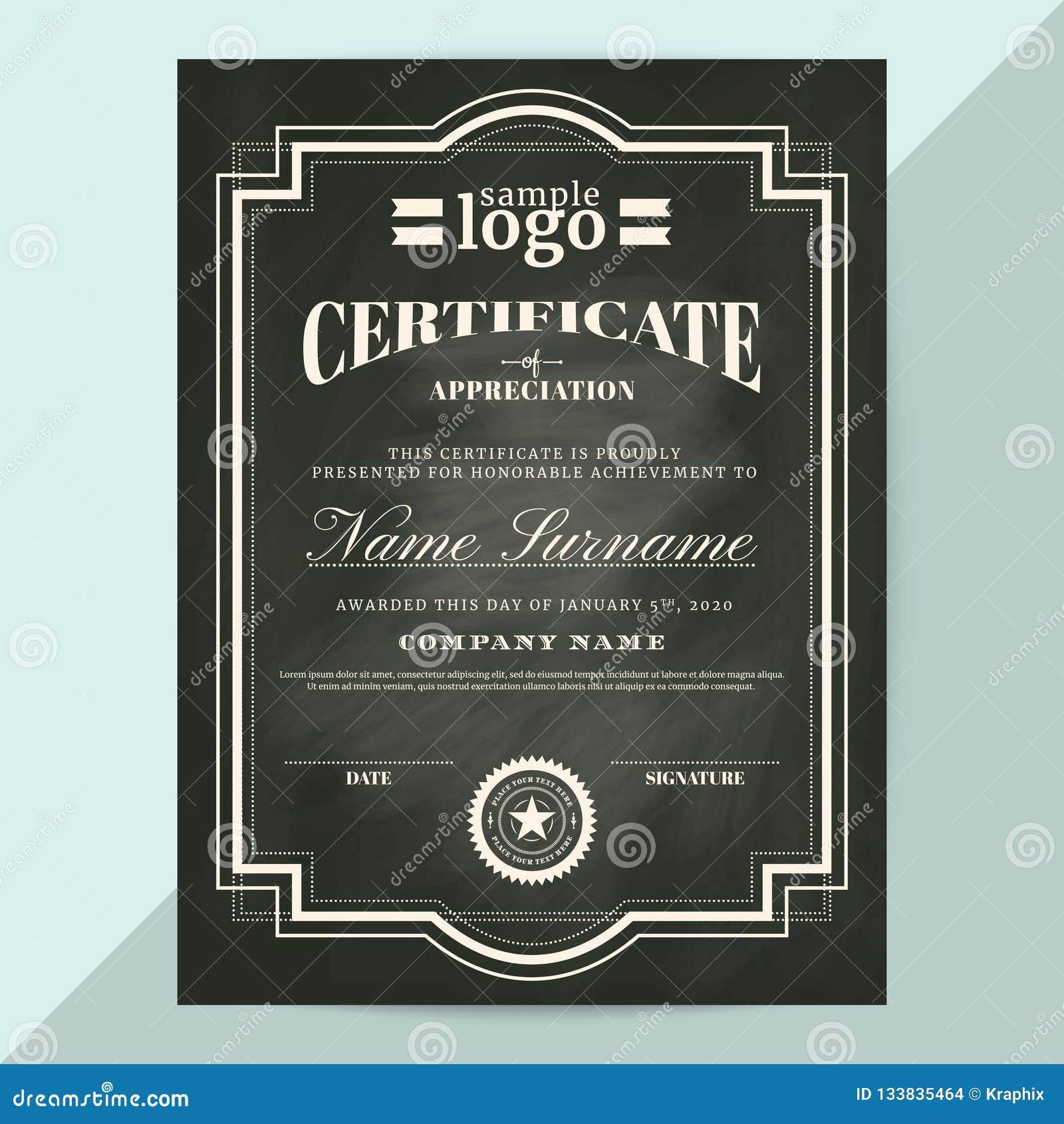Certificado de plantilla del marco del aprecio en estilo de la pizarra