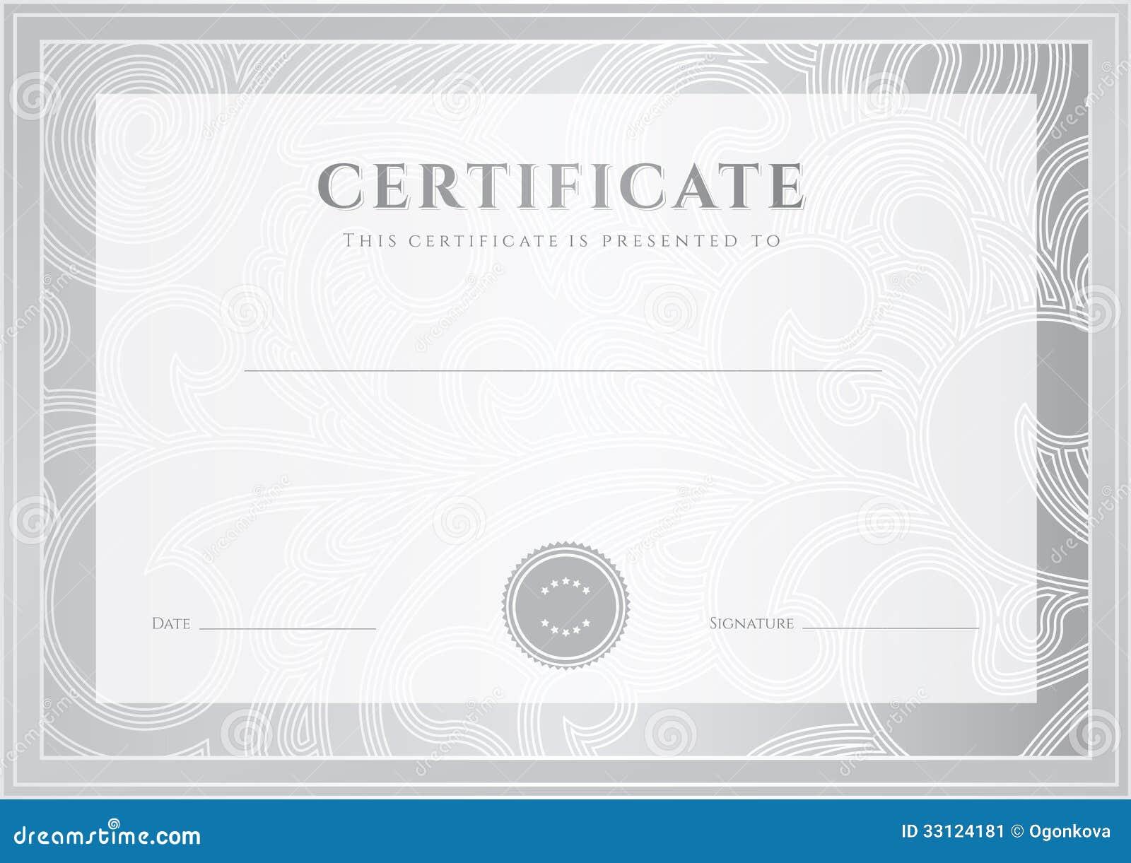 Certificado De Plata, Plantilla Del Diploma. Golpeteo Del Premio ...