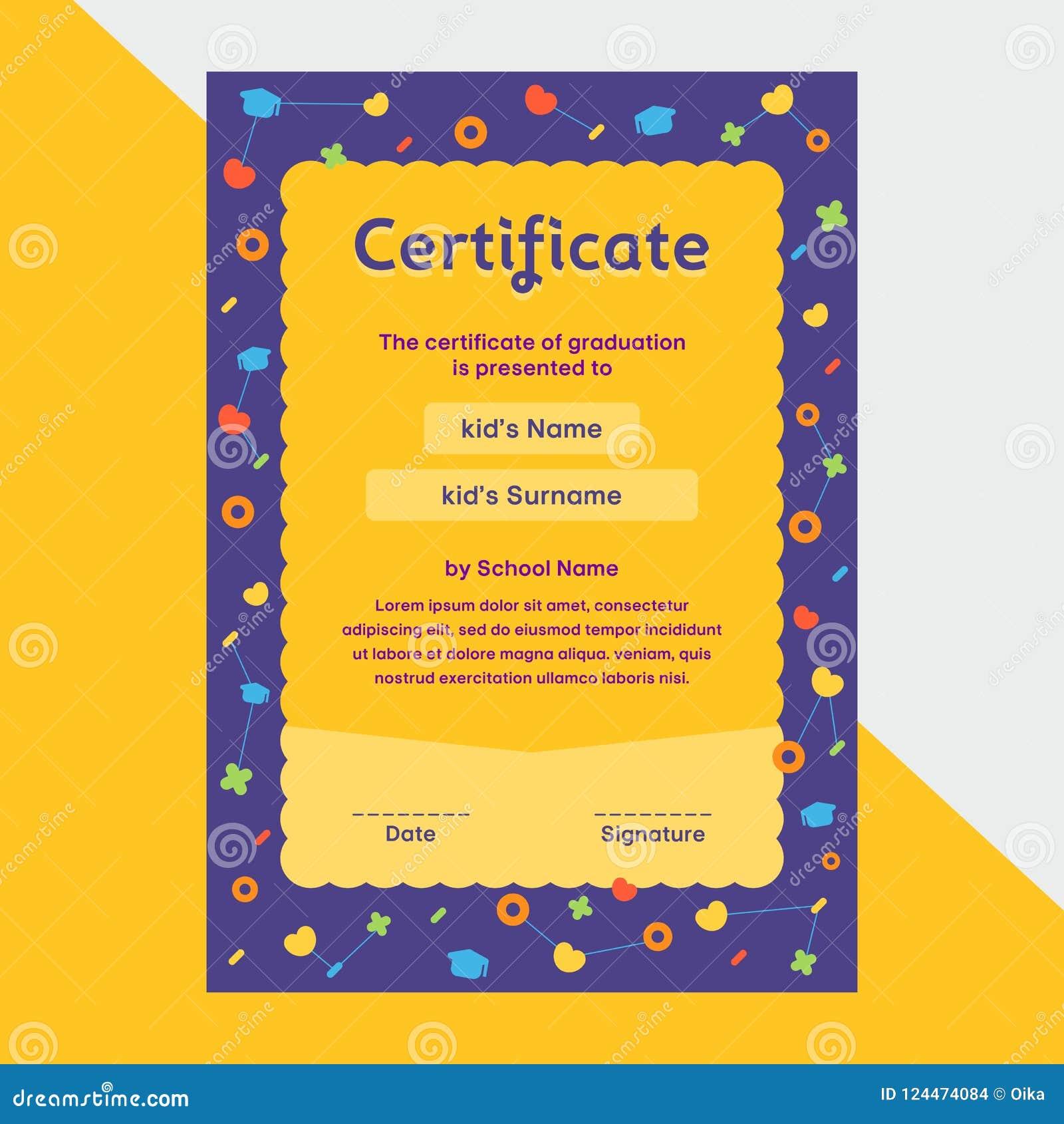 Certificado Del Diploma De Los Niños En Diseño Lindo De La ...