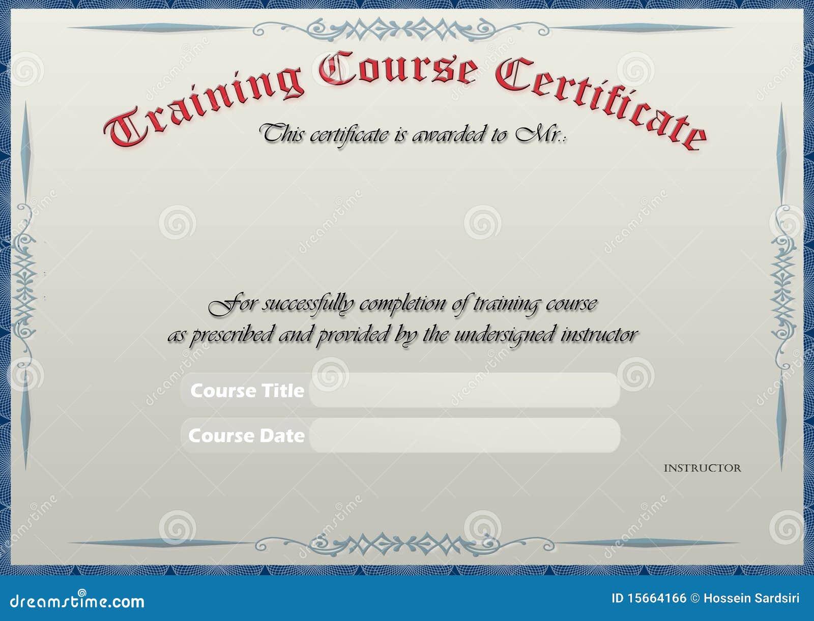 Certificado Del Entrenamiento Foto de archivo - Imagen de ...