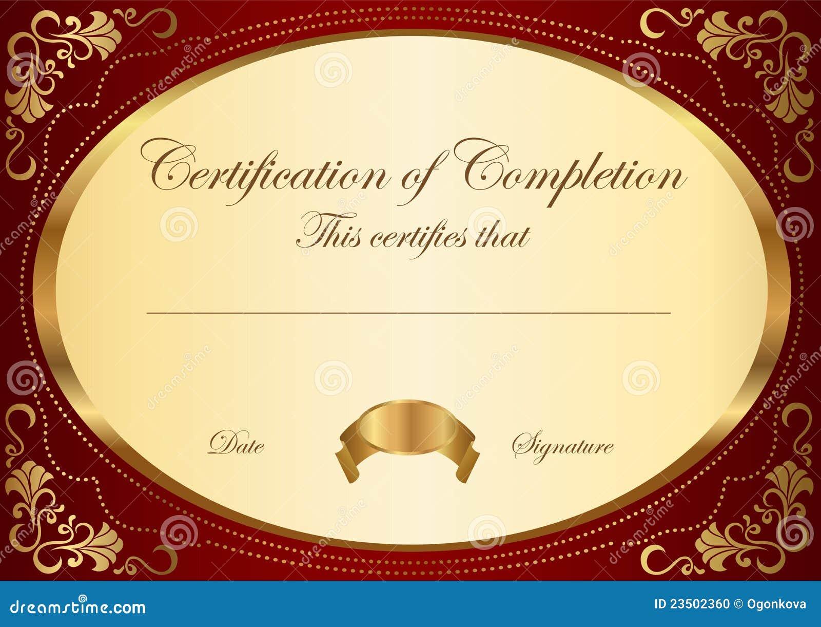 Certificado do molde da conclusão