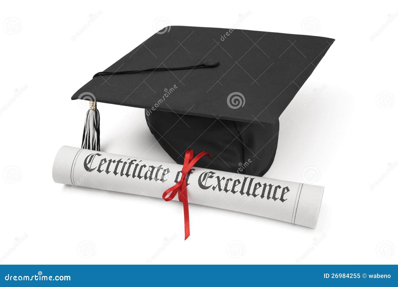 Certificado do tampão da excelência e da graduação