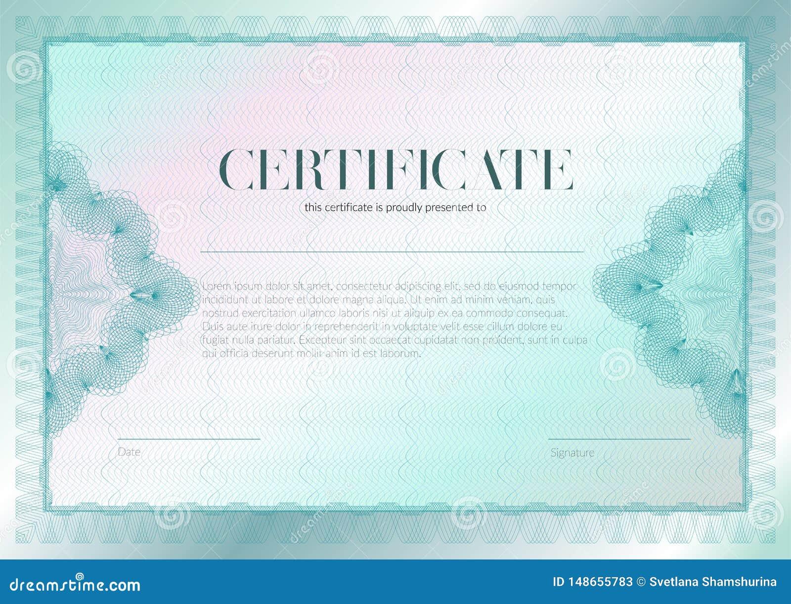 Certificado horizontal com projeto do molde do guilloche e do vetor da filigrana Gradua??o do projeto do diploma, concess?o, suce