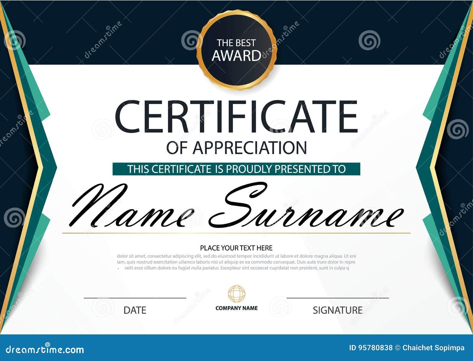 Certificado horizontal de la elegancia abstracta verde con el ejemplo del vector, plantilla blanca del certificado del marco con