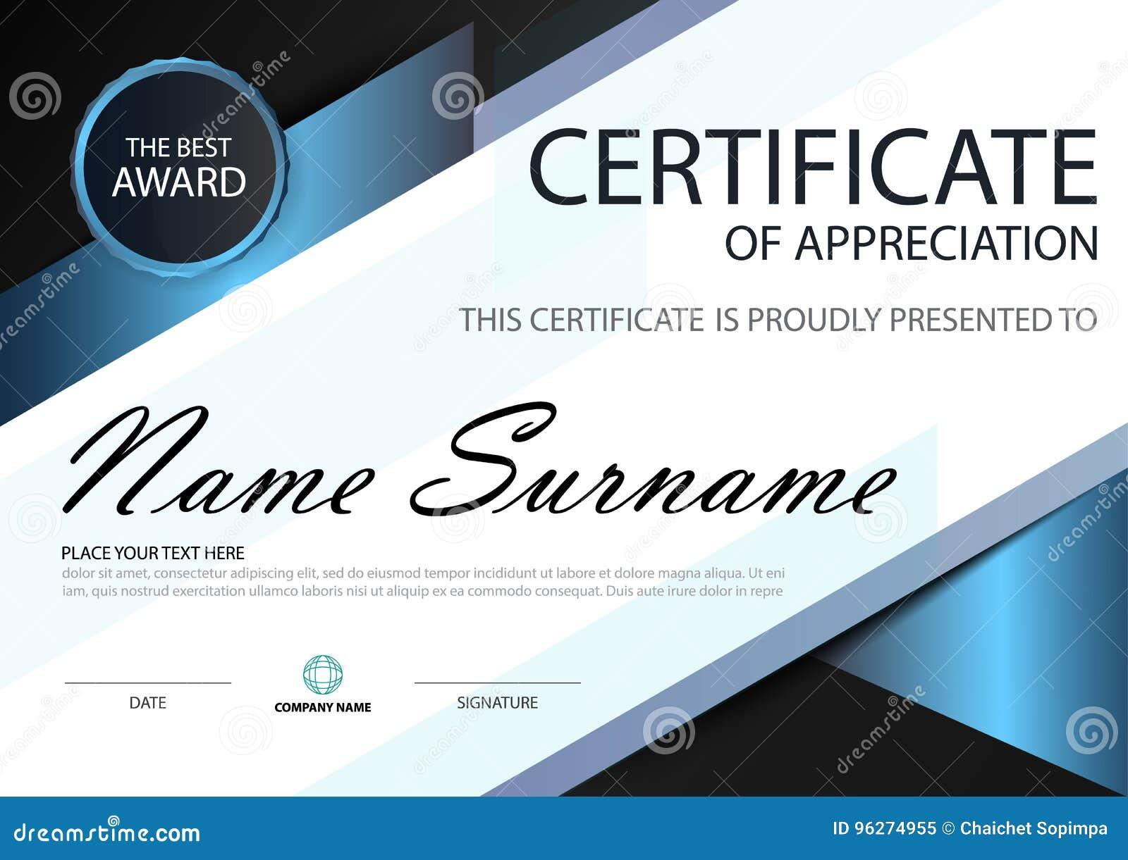 Certificado horizontal de la elegancia del negro azul con el ejemplo del vector, plantilla blanca del certificado del marco con l