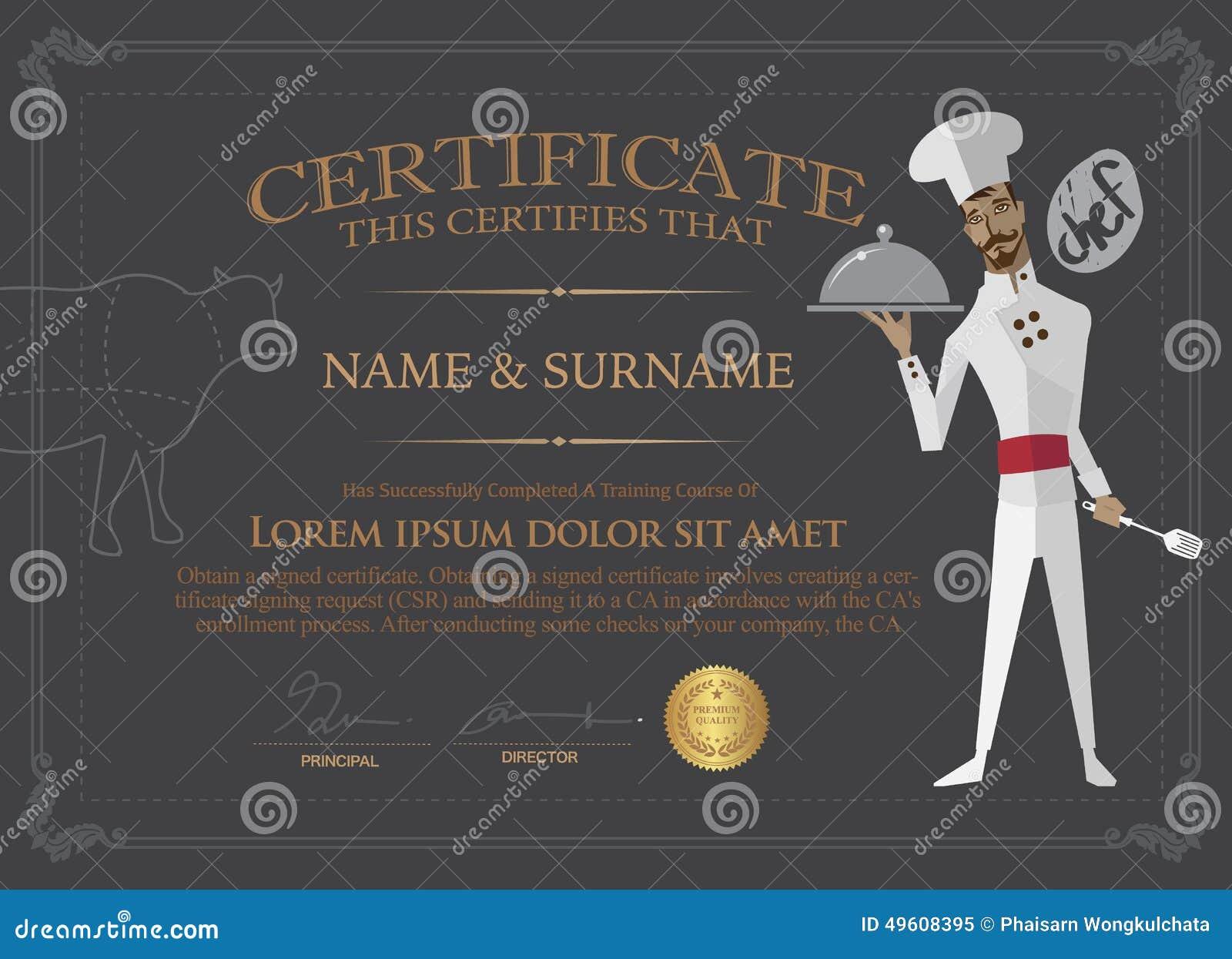 Certificado Para El Cocinero Design Template Gente Que Terminó El Co ...