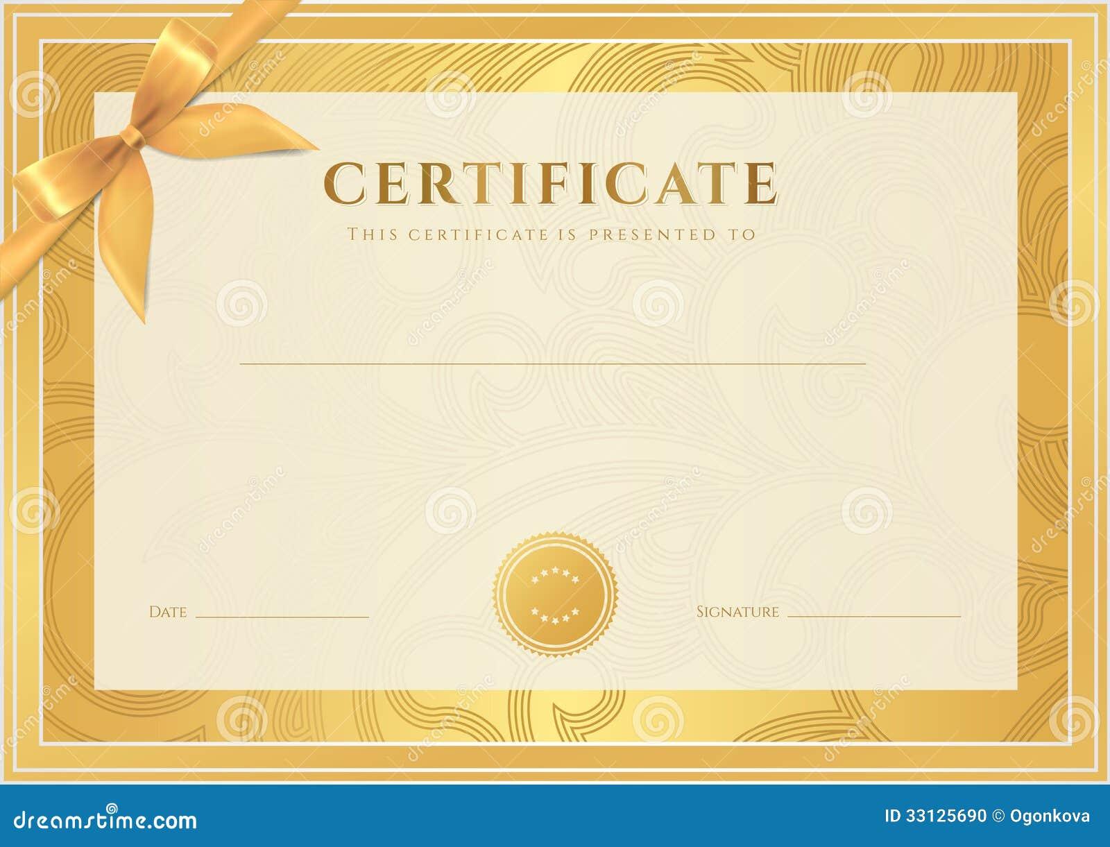 Gold Award Template Certificate Borders
