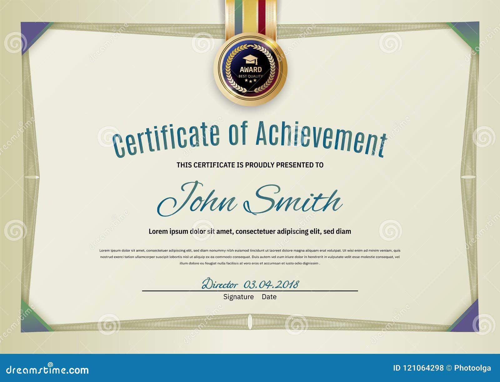 Certificado verde claro oficial con la frontera y las esquinas verdes del guilloquis Espacio en blanco simple oficial