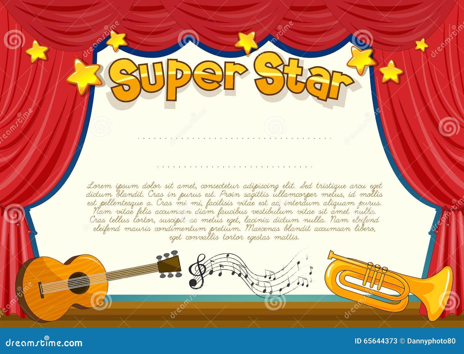 Certificat avec l instrument de musique sur l étape