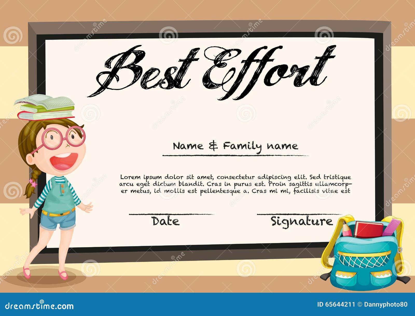 Certificat avec la fille et les livres