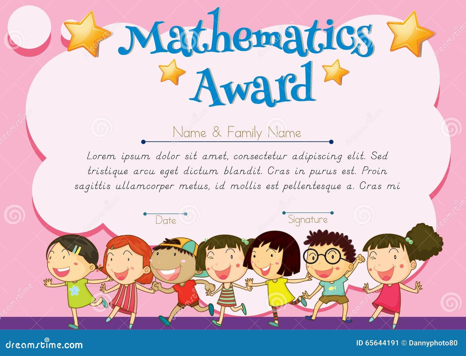 Certificat de récompense de mathématiques